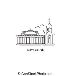 Novosibirsk logo isolated on white background. Novosibirsk s landmarks line vector illustration. Traveling to Russia cities concept.