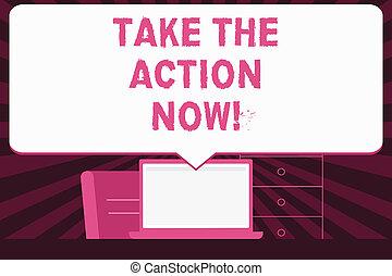 now., 写真, instantly., テキスト, 提示, 即時, 印, 始めなさい, 取得, 行為, 概念, 即座に, 行動