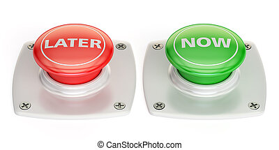 now and later push button, 3D rendering