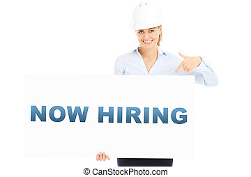 Now hiring banner - A picture of a pretty woman in a hard...