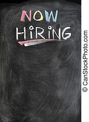 Now hiring blank advertising on a blackboard