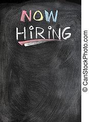 Now hiring blank advertising on a blackboard
