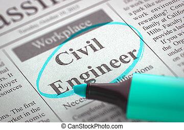 Now Hiring Civil Engineer. 3D. - Civil Engineer. Newspaper ...