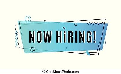 Now hiring concept. Emergency job vacancy advertisement geometric blue banner