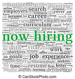Now hiring concept in word tag cloud