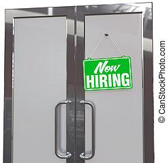Now Hiring help sign on business door