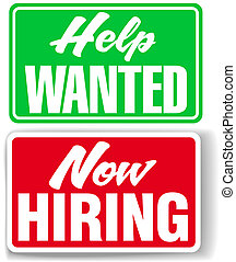 Now Hiring Help Wanted business signs - Two retail store...