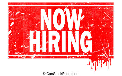 Now hiring in red frame