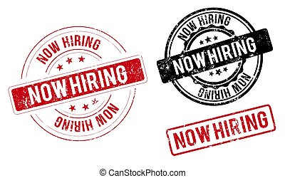 now hiring label. now hiring red band sign. now hiring. now hiring round stamp