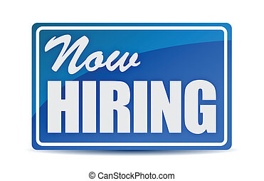 Now Hiring retail store window style sign illustration