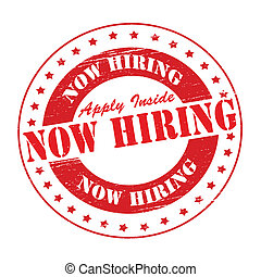 Stamp with text now hiring inside, vector illustration