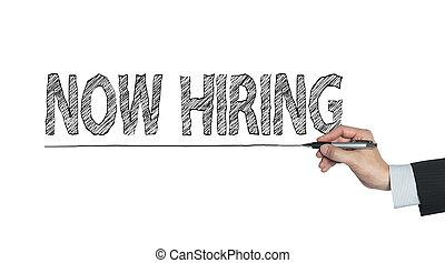 now hiring written by hand