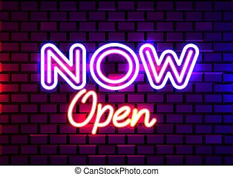 Now Open neon text vector design template. Now Open neon logo, light banner design element, night bright advertising, bright sign.