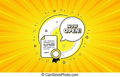 Now open. Promotion new business sign. Vector