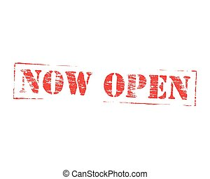Now Open Rubber Stamp - Now open grungy rubber stamp symbol