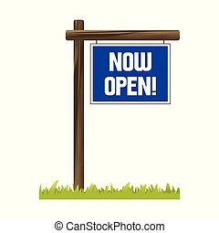 Now Open sign on post
