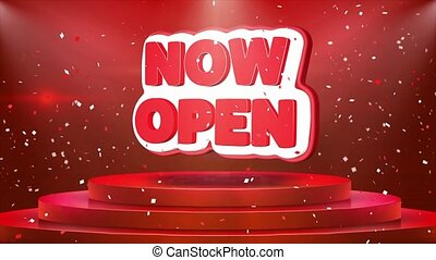 Now Open Text Animation Stage Podium Confetti Loop Animation