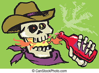 Grungy cowboy getting burned by the sauce
