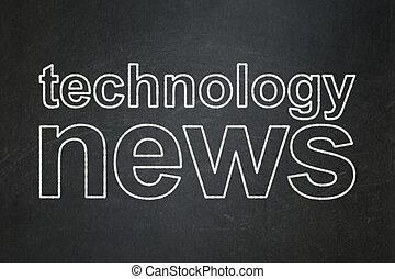 nowość, concept:, technologia, chalkboard, tło