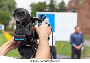 nowość, conference., video, aparat fotograficzny.