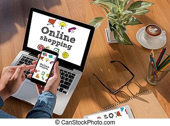 nowość, laptop, finansowy, handlowy, online