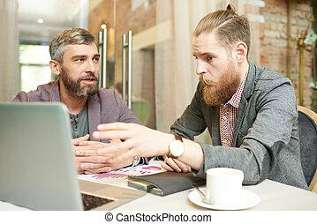 nowoczesna sprawa, ludzie, praca, projekt, kawiarnia, dyskutując