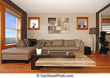 nowoczesne życie, pokój, wewnętrzny, z, skórzana sofa
