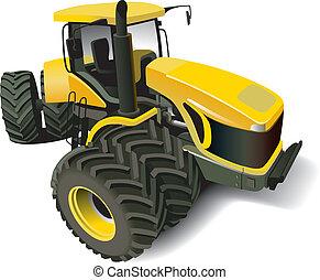 nowoczesny, żółty traktor