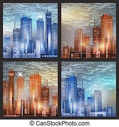 nowoczesny, życie miasta, abstrakcyjny, tło, projektować, z, geometryczny, shapes., konceptualny, wektor, illustration.