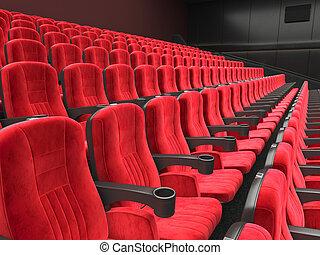 nowoczesny, 3d, przedstawienie, kino