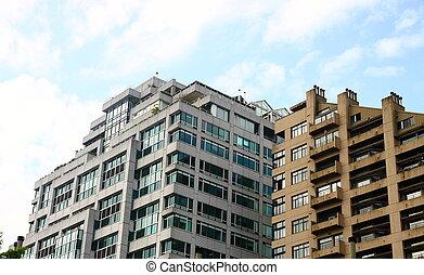 nowoczesny, biały, i, szary, mieszkanie, zabudowanie