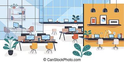 nowoczesny, biuro, albo, otwarta przestrzeń, z, okienka, komputery, chairs., wygodny, co-working, powierzchnia, albo, podzielony, miejsce pracy, pełny, od, szykowny, meble, i, wewnętrzny, decorations., barwny, płaski, wektor, illustration.