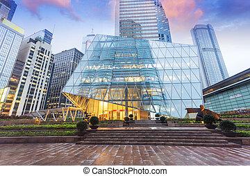 nowoczesny, biurowiec, powierzchowność, od, miejski, miasto