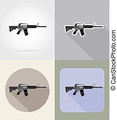 nowoczesny, broń, bronie palne, płaski, ikony, wektor, ilustracja