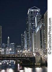 nowoczesny, chicago, w nocy
