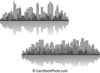 nowoczesny, cityscapes, wektor, projekty