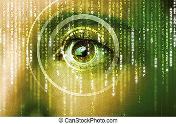 nowoczesny, cyber, kobieta, z, macica, oko