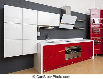 nowoczesny, czerwony, kuchnia, ozdoba, wewnętrzny