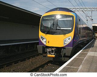 nowoczesny, diesel, pociąg