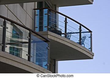 nowoczesny, dom, z, balkon