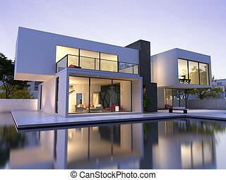 nowoczesny, dom, z, kałuża
