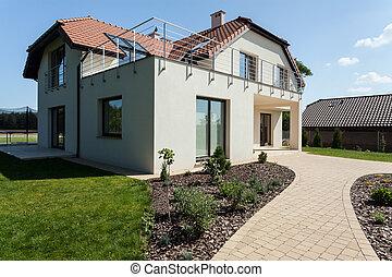 nowoczesny, dom, z, ogród