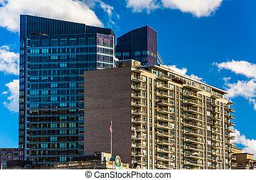 nowoczesny, drapacze chmur, w, śródmieście, boston, massachusetts.