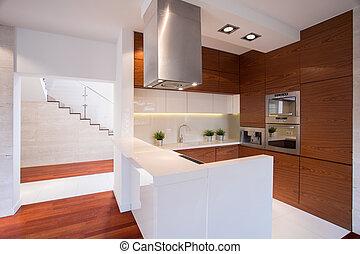 nowoczesny, drewniany, kuchnia
