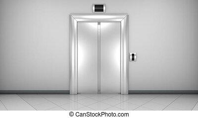nowoczesny, drzwi, elevator., loopable, otwarcie