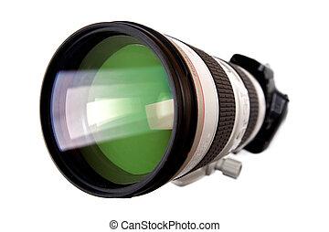 nowoczesny, dslr, palcowy aparat fotograficzny, z, cielna, soczewka, odizolowany, na białym