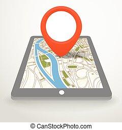 nowoczesny, gadżet, z, abstrakcyjny, miasto mapa, w, perspektywa