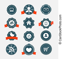 nowoczesny, ikony, rocznik wina, etykiety, zbiór, komputer