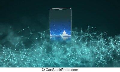 nowoczesny, internet., technology., smartphone, ruchomy