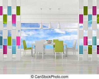 nowoczesny, jadalny pokój